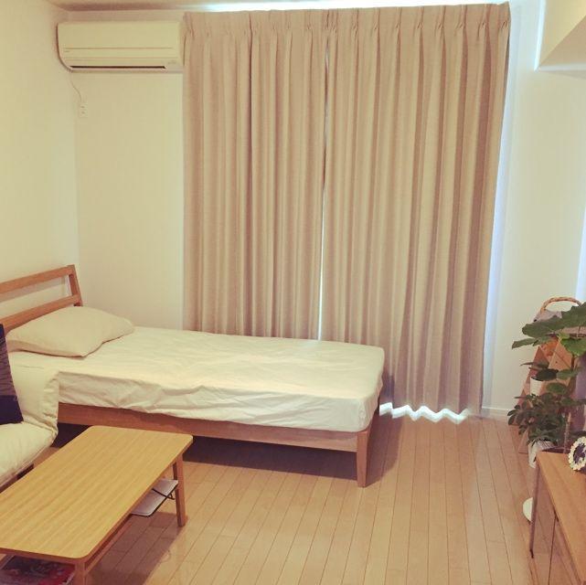 mutsumiさんの、賃貸,KEYUCAのカーテン,SIEVEのローテーブル,無印良品,北欧,一人暮らし,部屋全体,のお部屋写真