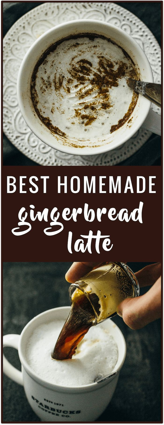 Homemade gingerbread latte - This is a simple recipe for making your own gingerbread latte at home. All you need is espresso coffee, milk, gingerbread spices, and sugar.