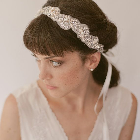 Bridal headband wedding headpiece beaded by EricaElizabethDesign, $240.00