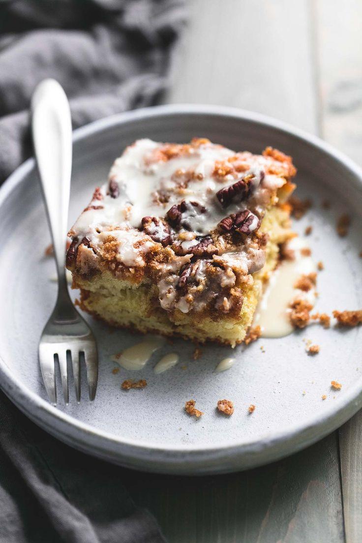 Cinnamon Pecan Coffee Cake | lecremedelacrumb.com #bakealittleextra #ad