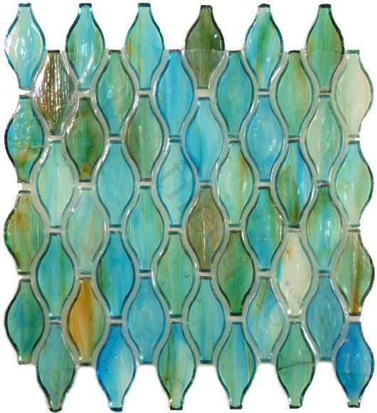 Clear Turquoise Green Unique Shapes Iridescent Gl Tile