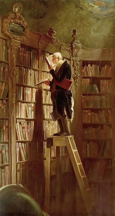 Decisions, decisions - so many books to choose from ~    The Bookworm (1850) by Carl Spitzweg