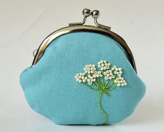 Queen Anne's Lace Coin Purse Aqua Blue