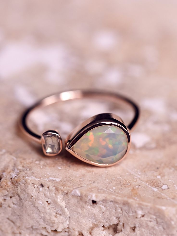 Pascale Monvoisin Opal x Rose Cut Diamond Ring