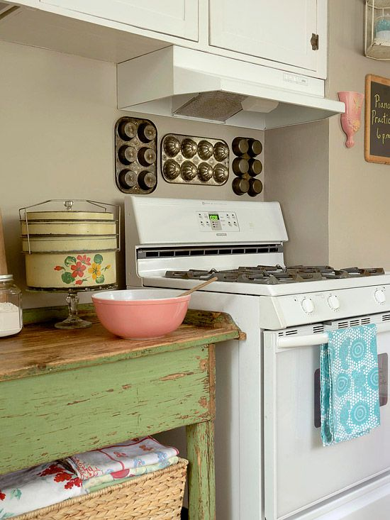 Cottage kitchen...yellow, pink, green, and blue.  Cake stands, bowls, and more: Wall Art, Baking Supplies, Vintage Kitchens, Kitchens Wall, Baking Pan, Muffins Pan, Green Tables, Muffins Tins, Cupcake Pan