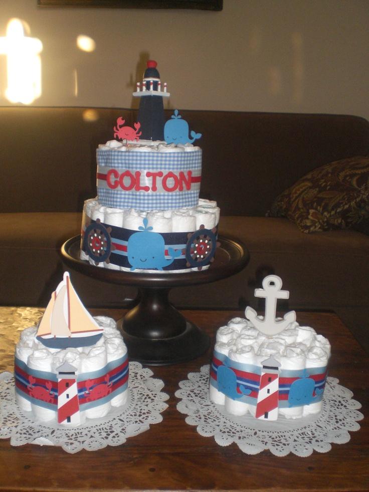 More nautical baby shower diaper cakes!