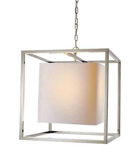 Visual Comfort Studio Eric Cohler Medium Caged Lantern in Polished Nickel with Natural Paper Shade SC5160PN | Visual Comfort Lighting Lights | Visual Comfort | Visual Comfort Lighting | Alexa Hampton | Visual Comfort Sconces | Lighting New York | Lighting Fixtures
