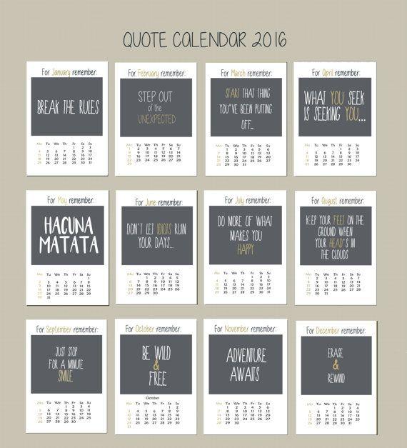 2016 Wall Calendar, 2016 Calendar, Fine Art Calendar, Christmas Gift, Coworker Gift, Hostess Gift, Quotes Calendar, Optimistic Calendar.  This