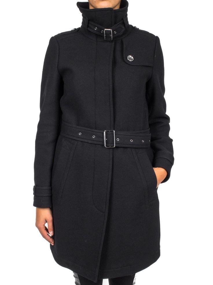 BURBERRY - Cappotto in lana collo alto con cintura in vita - Nero  - Elsa-boutique.it #Burberry <3