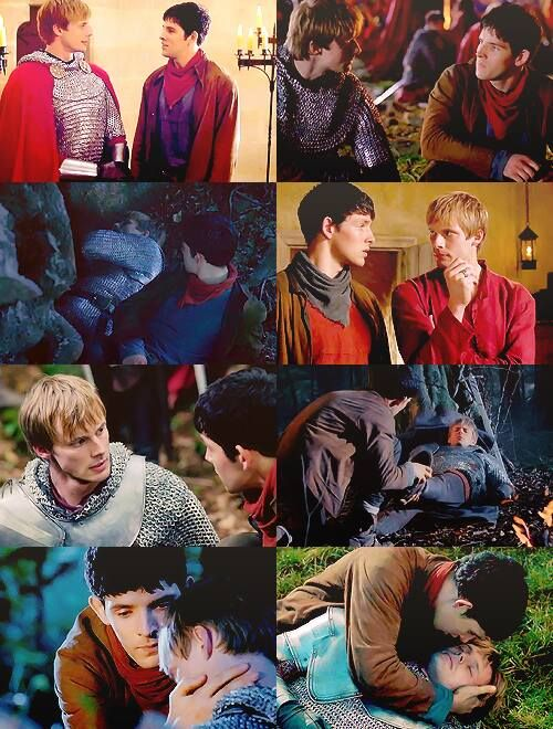 The bromance between Arthur and Merlin #ColinMorgan #BradleyJames #Merlin