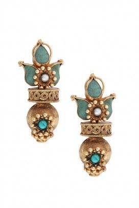 SILVER TURQUOISE IMPERIAL EARRINGS Rs. 6,400  Description Related Info Dimensions Turquoise and pearl set in detailed gold metalwork with ball pendant.  Product code: EER(T)-13-34      Help 332