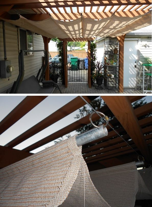 DIY pergola shade with garage door cable