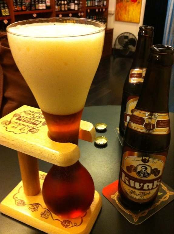 Kwak, Belgian beer. Probably one of the best glasses I've ever seen.