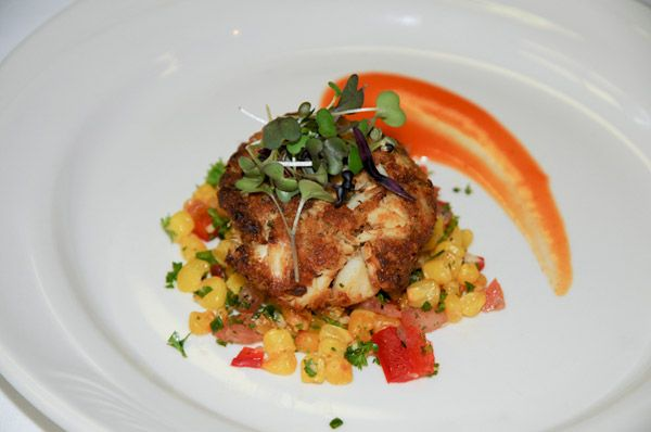 Maryland crab cake, roasted corn relish and red-pepper coulis