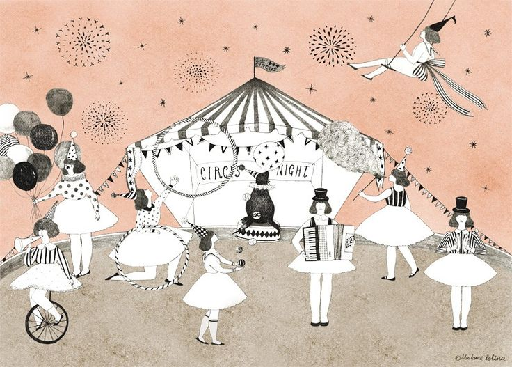 Affiche Déco thème Cirque, Illustration Enfant thème Cirque