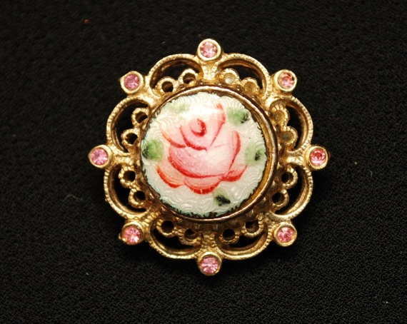 Vintage Coro Gold Tone Guilloche Cabbage Rose and by PatinaAndCole, $14.99