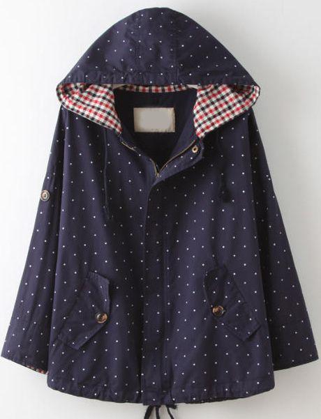 veste à pois avec capuche -marine  34.30http://fr.sheinside.com/Navy-Hooded-Long-Sleeve-Polka-Dot-Coat-p-188678-cat-1735.html