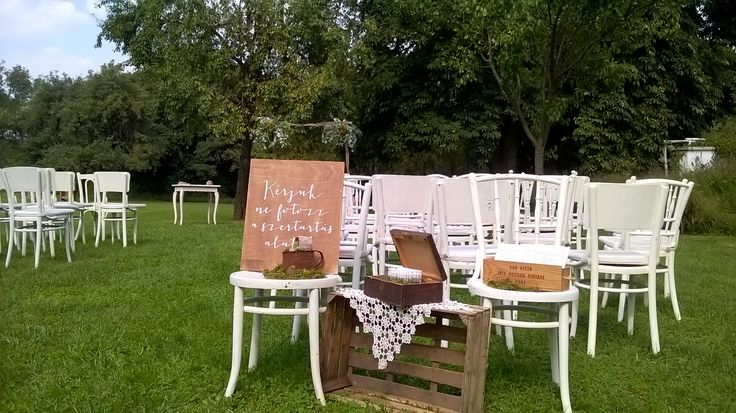 Lovely garden wedding ceremony welcome sign in rustic style