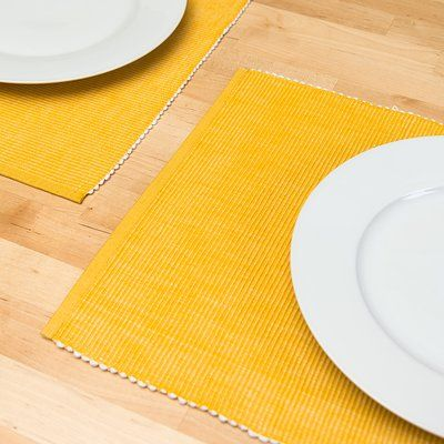 Winston Porter Tayla Cotton Ribbed Placemat Color Mustard Yellow Placemats Table Linens Dinning Room