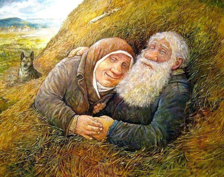 козинцев рисунки стариков и старушек словам
