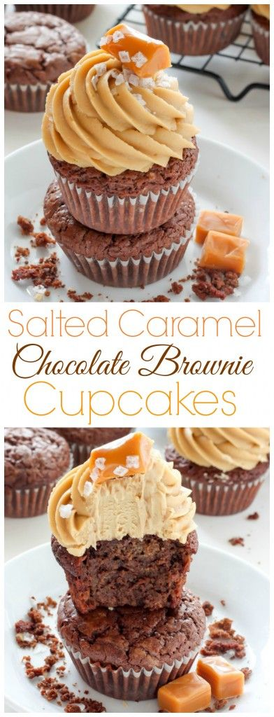 Dark Chocolate Brownie Cupcakes with Salted Caramel Frosting - oh man these are INCREDIBLE!