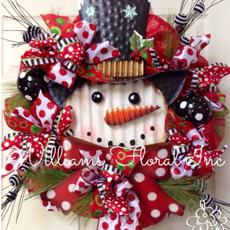 Christmas Wreath, Snowman, Whimsical, Black, Christmas Mesh Wreath by WilliamsFloral on Etsy