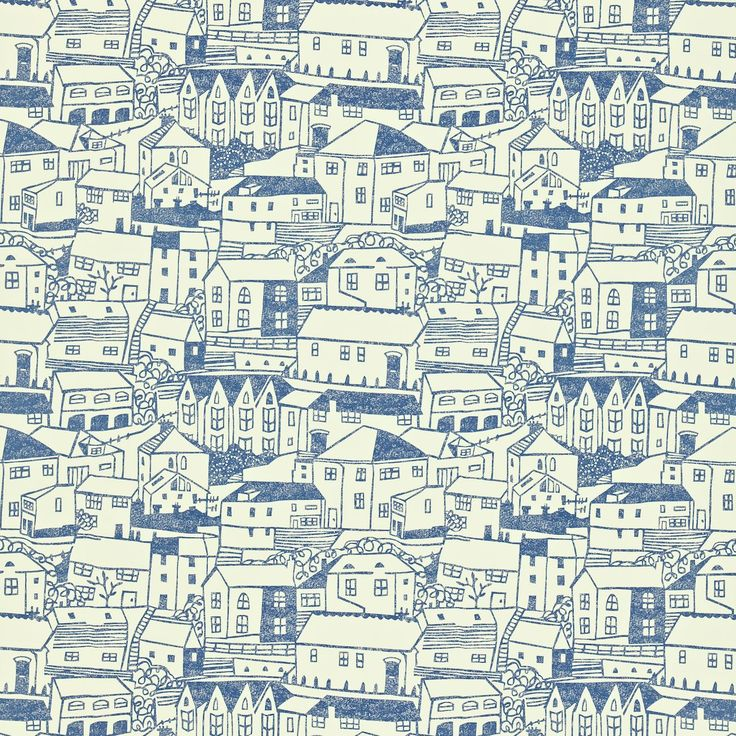 WALLPAPER PRINT | Sanderson St Ives Blue and White |