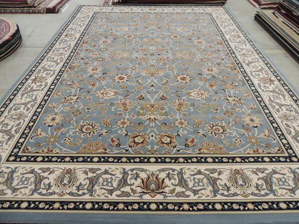 "Grey & Blue ""Kashan Design"" Turkish Rug Size: 200 x 290cm"