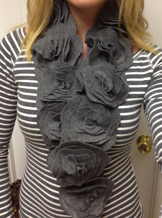 HandSewn Felt Flower Scarf by ProbableCharm on Etsy, $28.00    Totally making this!