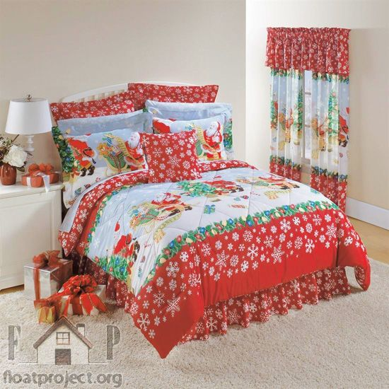 Christmas bedding set for a kids' room http://www.floatproject.org/uncategorized/unique-christmas-decoration-ideas-kids-bedroom