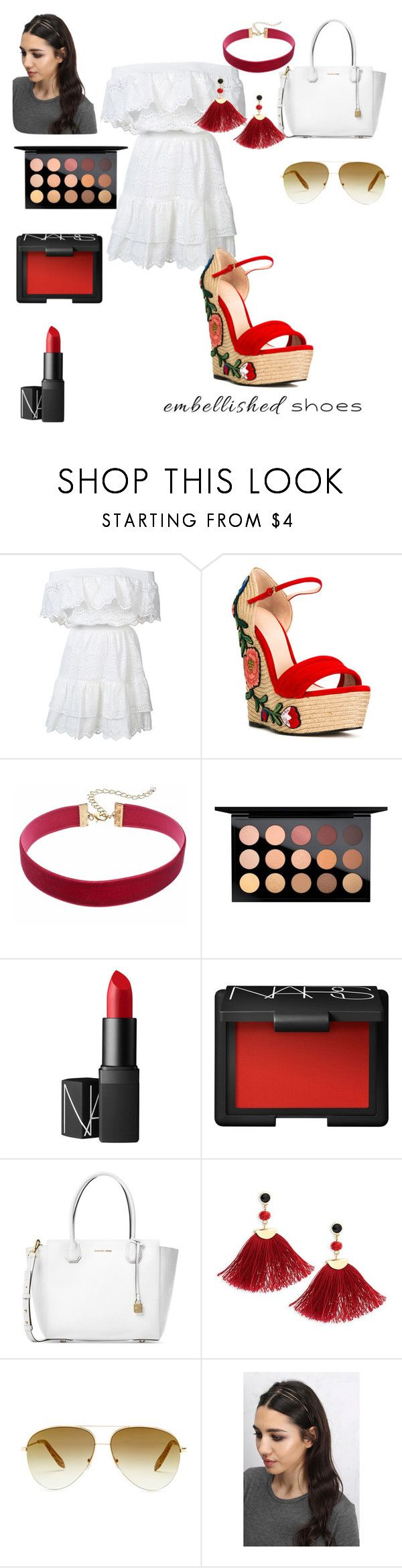 """♦️"" by lizmontgomery on Polyvore featuring LoveShackFancy, Gucci, MAC Cosmetics, NARS Cosmetics, Michael Kors, Shashi, Victoria Beckham and Rare London"