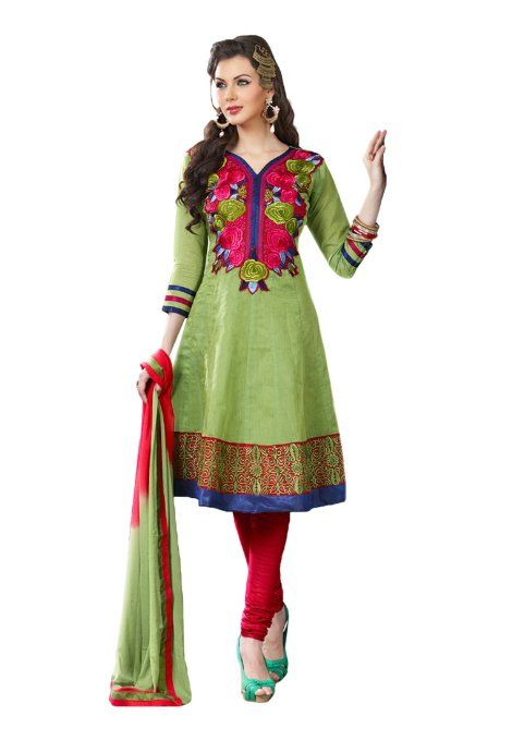 Amazon.com: Fabdeal Women's Indian Designer Wear Embroidered Salwar Green: Clothing