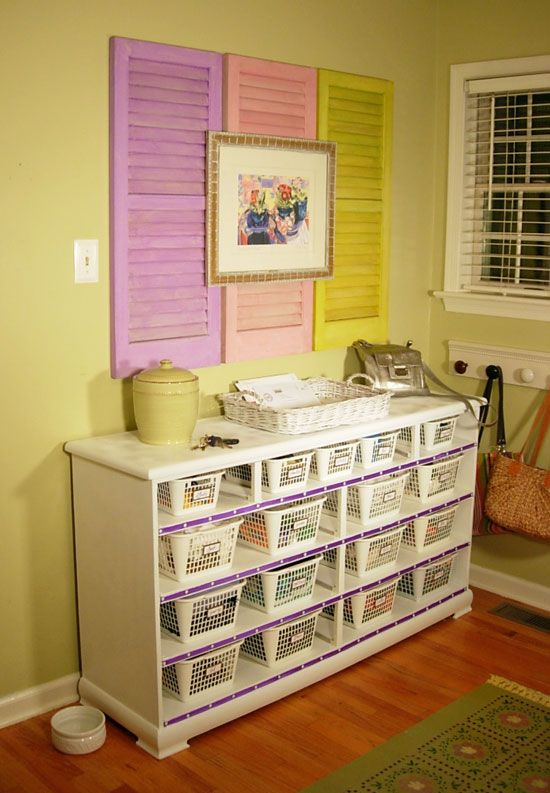 Old Dresser into a Mud Room Organizer using Dollar Store plastic baskets...