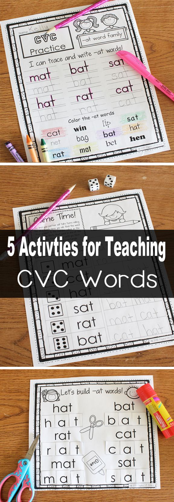 Do you need some fun activities for teaching CVC words? Check out this NO PREP  packet with 5 activities each for 23 short vowel CVC word families. There are 3 worksheets for each word family, which include tracing the words with highlighters, writing the words, identifying and coloring the words, cut and glue, and a dice game. This packet is great to use during literacy centers and is appropriate for pre-k, kindergarten, and first grade. My kids love to practice phonics with this CVC…
