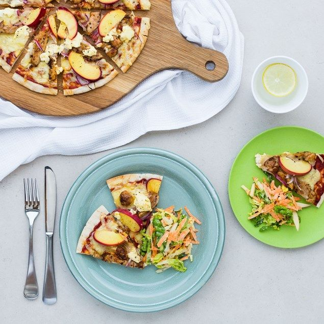 Peach adds a summery and sweet taste to these delicious mid-week pizzas!