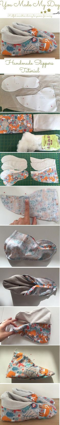 Handmade slippers tutorial and pattern. For more sewing patterns and tutorials, visit http://you-made-my-day.com/blog More