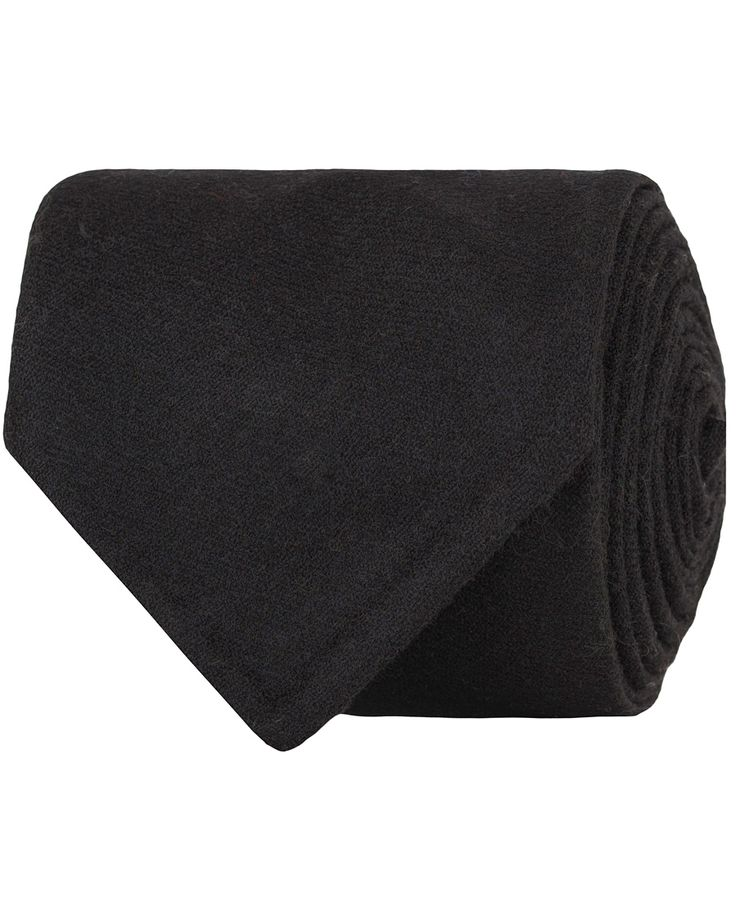 Oscar Jacobson Flannel Roll Edge 8,5 cm Tie Black  i gruppen Accessoarer / Slipsar hos Care of Carl (13258210)