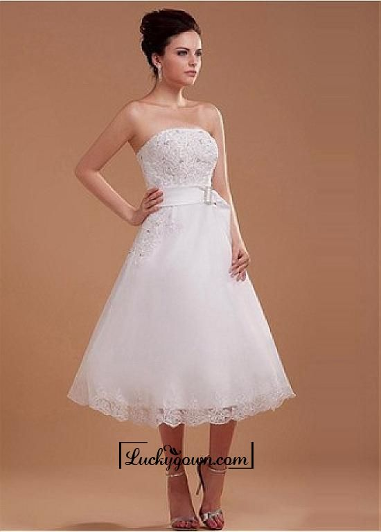 Buy Attractive Satin & Organza A-line Strapless Raised Waist Wedding Dress Online Dress Store At LuckyGown.com