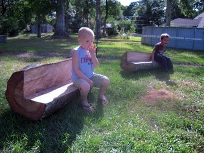 great idea for benches in natural play space