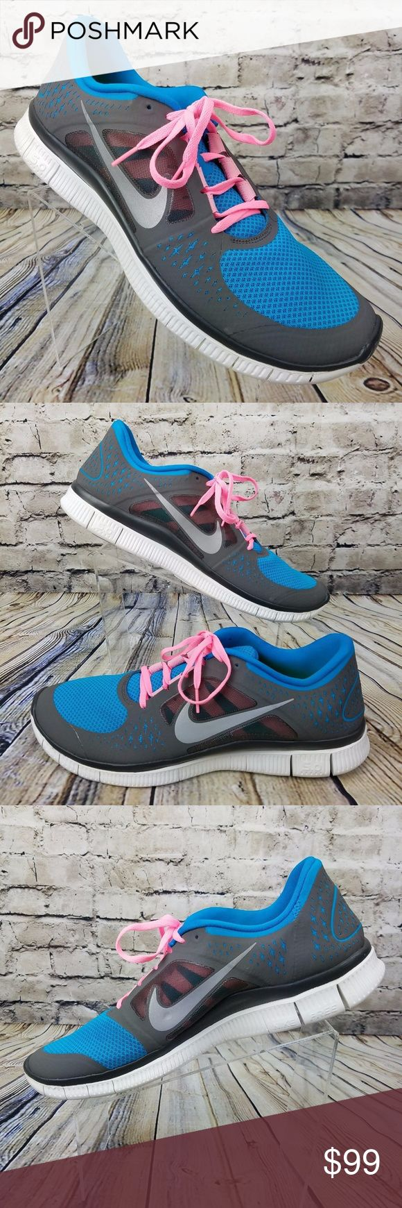 NIKE Free Run 5.0 Running Shoes Men's Size 15 NWOT Men's NIKE Run Free Running Shoes  NEW w/o Tags - Does Not Include Original Box  Style Name: RUN FREE 5.0  Size: 15 USA 14 UK - Medium Width  Color = Gray Blue & Pink Nike Shoes Athletic Shoes #runningshoes