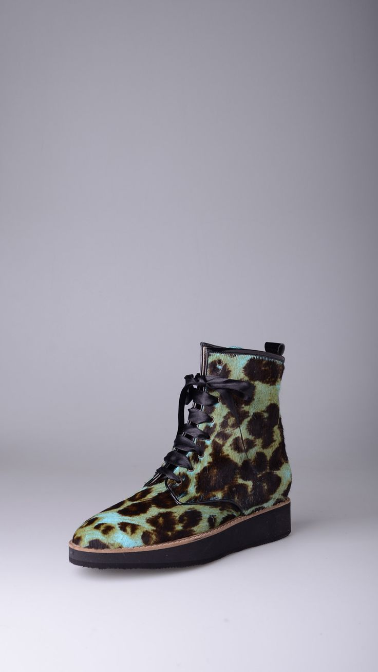 Hego's Animal print pony hair ankle boots.