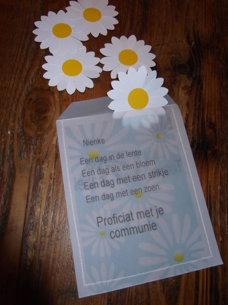 knutsels van Jolanda kado zakje voor geld voor communie feestje