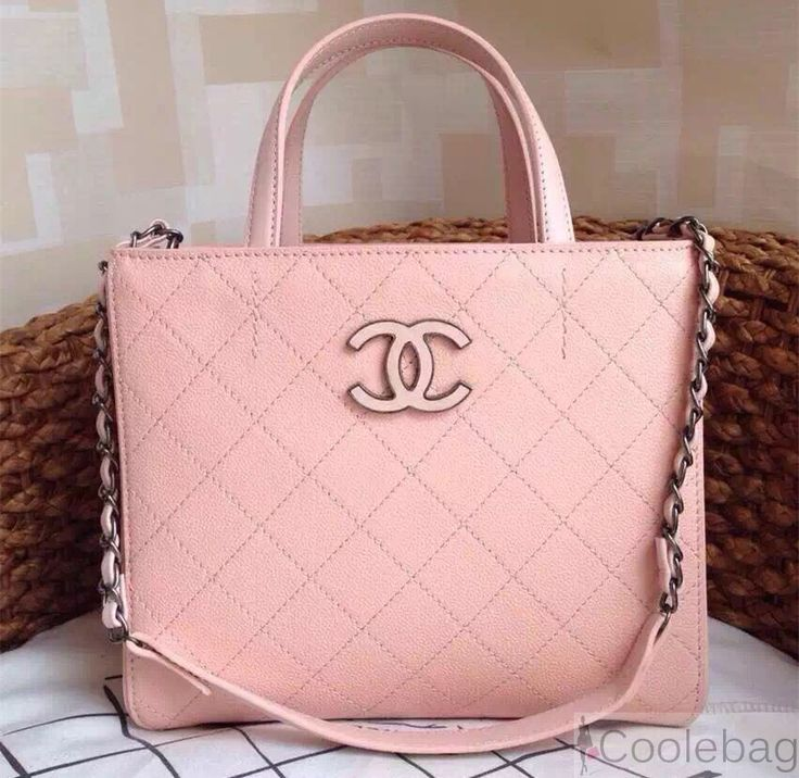 chanel hampton tote bag in caviar leather Pink