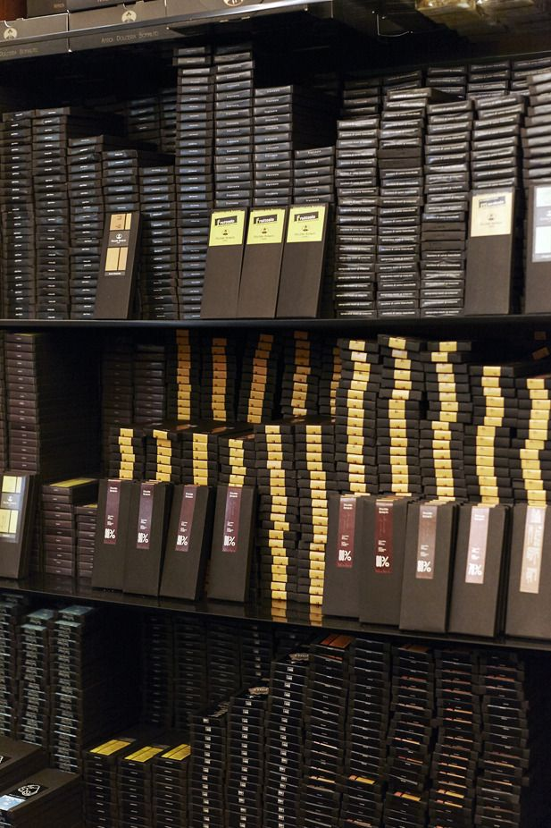 Stacks of chocolate at Antica Dolceria Bonajuto in Modica  | An Affair With Italy