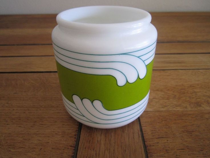 """Egizia Milk Glass Jar 4"""" Container Art-Deco Design Made in Italy  #Egizia"""
