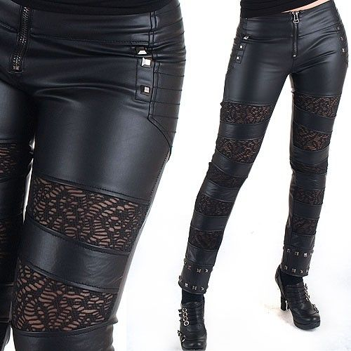 Leather Like And Lace Pants