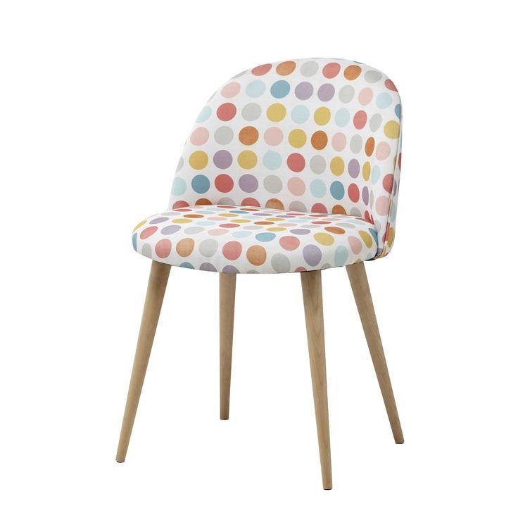 Chaise vintage en tissu pois multicolores et bouleau massif Mauricette