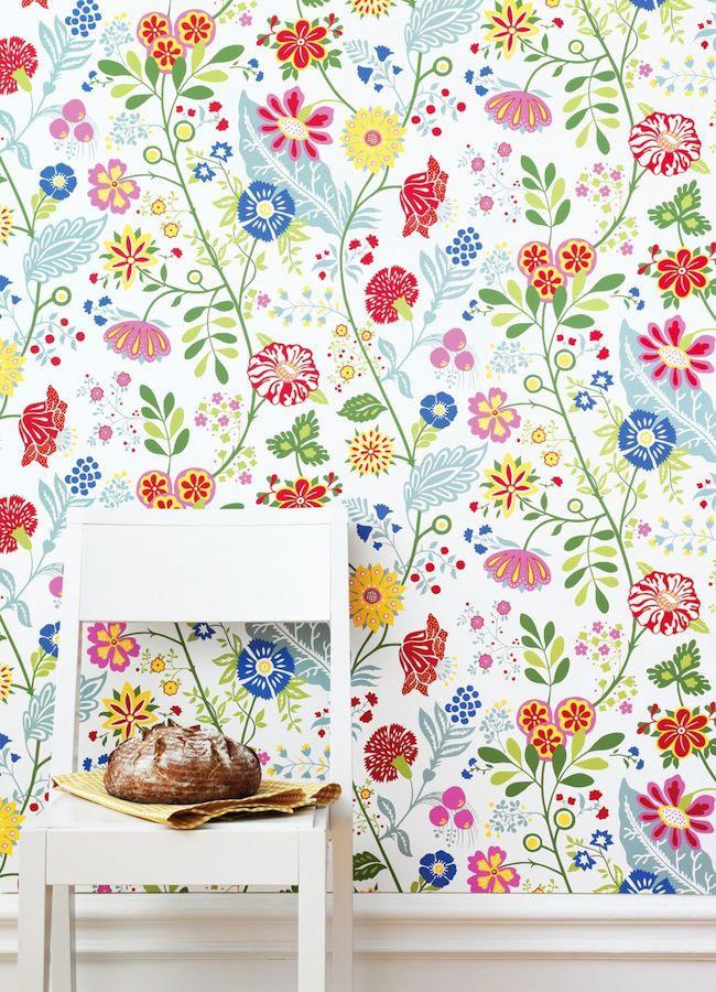 Papel pintado flores Amelie   telas & papel