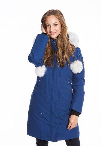 Moose Knuckles Women's Stirling Parka in Estate Blue with White Fur
