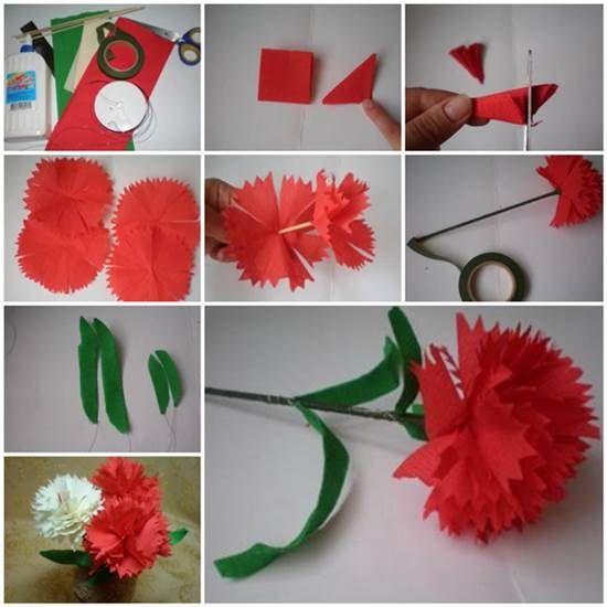 DIY Crepe Paper Carnation | iCreativeIdeas.com LIKE Us on Facebook ==> https://www.facebook.com/icreativeideas